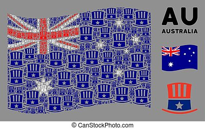 Waving Australia Flag Pattern of Uncle Sam Hat Items