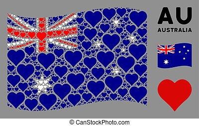Waving Australia Flag Pattern of Valentine Heart Icons