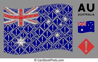 Waving Australia Flag Pattern of Warning Items