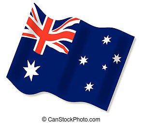 Waving Australian Flag - The Australian flag waving in a...