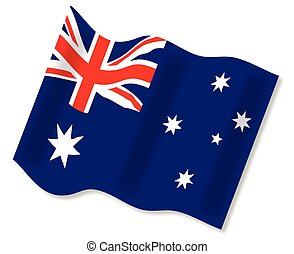 The Australian flag waving in a breeze over a white background