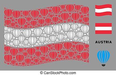 Waving Austria Flag Collage of Aerostat Items
