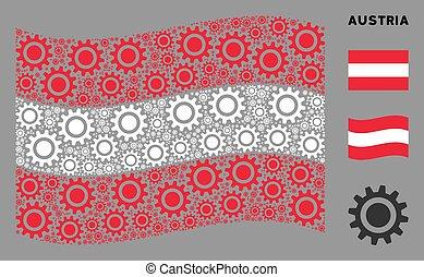 Waving Austria Flag Collage of Cog Items