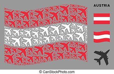 Waving Austria Flag Collage of Jet Plane Icons