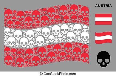 Waving Austria Flag Collage of Skull Icons