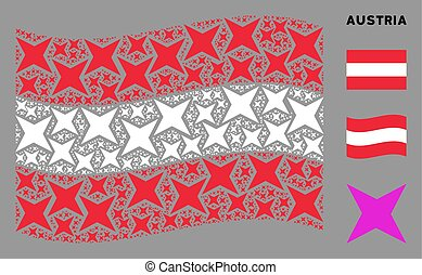 Waving Austria Flag Collage of Sparkle Star Icons