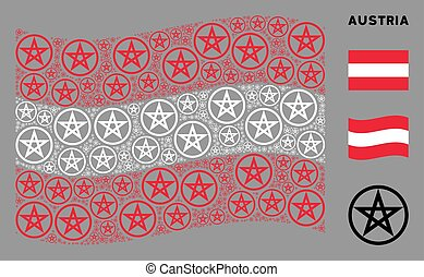 Waving Austria Flag Collage of Star Pentacle Icons
