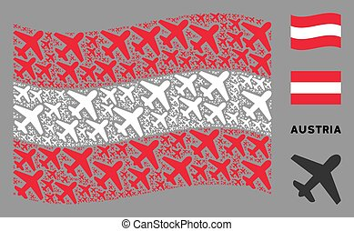Waving Austria Flag Composition of Airplane Items