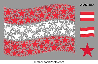 Waving Austria Flag Composition of Confetti Star Icons