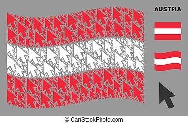 Waving Austria Flag Composition of Cursor Arrow Icons