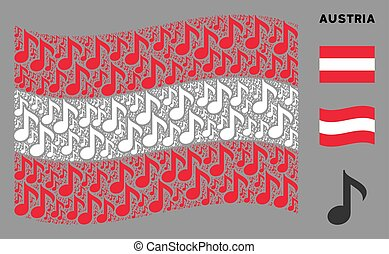 Waving Austria Flag Composition of Musical Note Icons