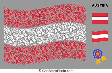 Waving Austria Flag Composition of Quality Icons