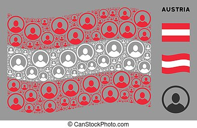 Waving Austria Flag Composition of Rounded User Portrait Icons