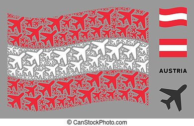 Waving Austria Flag Mosaic of Air Plane Icons