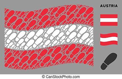 Waving Austria Flag Mosaic of Boot Footprint Items