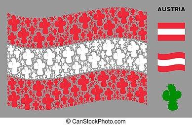 Waving Austria Flag Mosaic of Cacti Icons
