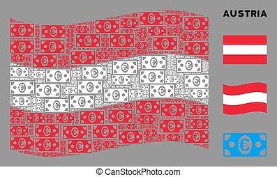 Waving Austria Flag Mosaic of Euro Banknote Icons