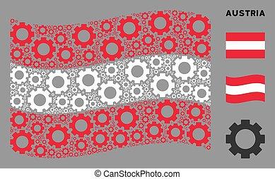 Waving Austria Flag Mosaic of Gear Items