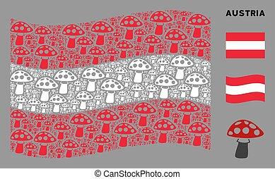 Waving Austria Flag Mosaic of Mushroom Icons