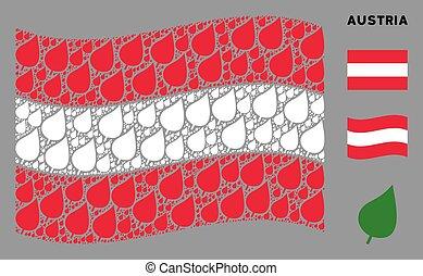 Waving Austria Flag Mosaic of Plant Leaf Icons
