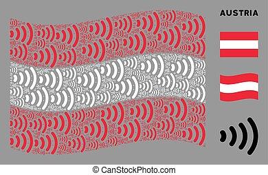 Waving Austria Flag Mosaic of Wireless Items
