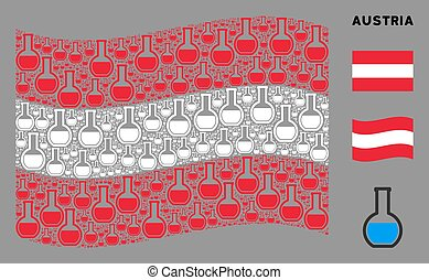 Waving Austria Flag Pattern of Chemical Retort Items