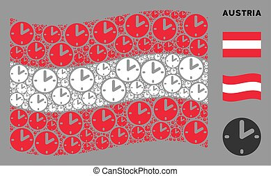 Waving Austria Flag Pattern of Clock Icons