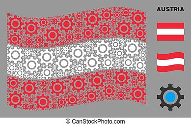 Waving Austria Flag Pattern of Cogwheel Icons