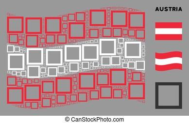 Waving Austria Flag Pattern of Contour Square Items