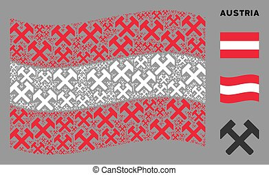 Waving Austria Flag Pattern of Hammers Items
