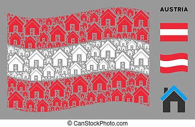 Waving Austria Flag Pattern of Home Items