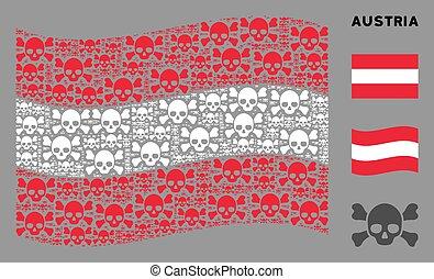 Waving Austria Flag Pattern of Skull Crossbones Items