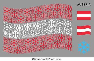 Waving Austria Flag Pattern of Snowflake Items