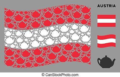 Waving Austria Flag Pattern of Teapot Items