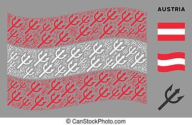 Waving Austria Flag Pattern of Trident Fork Items