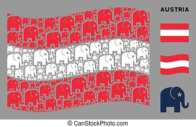 Waving Austrian Flag Collage of Elephant Icons
