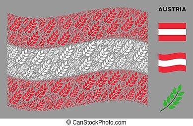 Waving Austrian Flag Collage of Leaf Branch Items