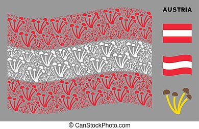 Waving Austrian Flag Collage of Mushrooms Icons