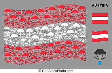 Waving Austrian Flag Collage of Parachute Items