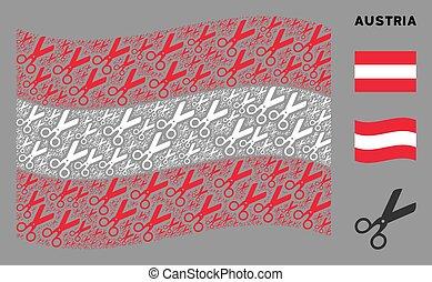 Waving Austrian Flag Collage of Scissors Items