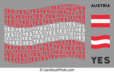 Waving Austrian Flag Collage of Yes Texts
