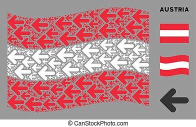 Waving Austrian Flag Composition of Arrow Left Icons