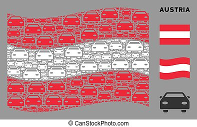 Waving Austrian Flag Composition of Car Items