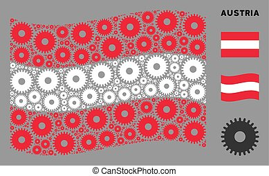 Waving Austrian Flag Composition of Cogwheel Items