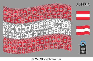 Waving Austrian Flag Composition of Death Skull Tag Items