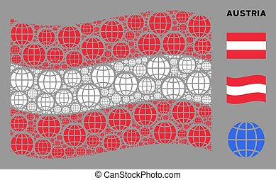 Waving Austrian Flag Composition of Globe Items