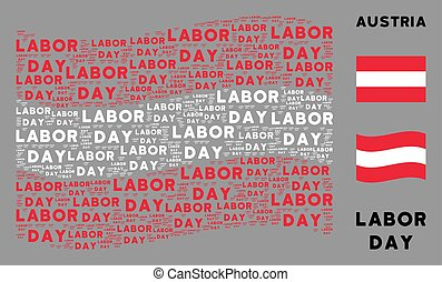 Waving Austrian Flag Composition of Labor Day Text Items