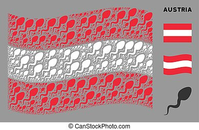Waving Austrian Flag Composition of Spermatozoon Items