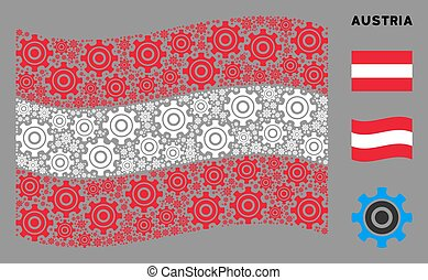 Waving Austrian Flag Mosaic of Cogwheel Items