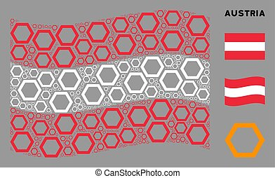 Waving Austrian Flag Mosaic of Contour Hexagon Icons